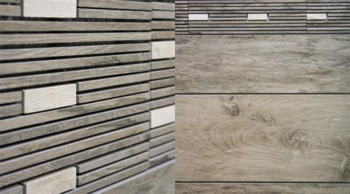 Holzimitation als Fliese und Mosaik